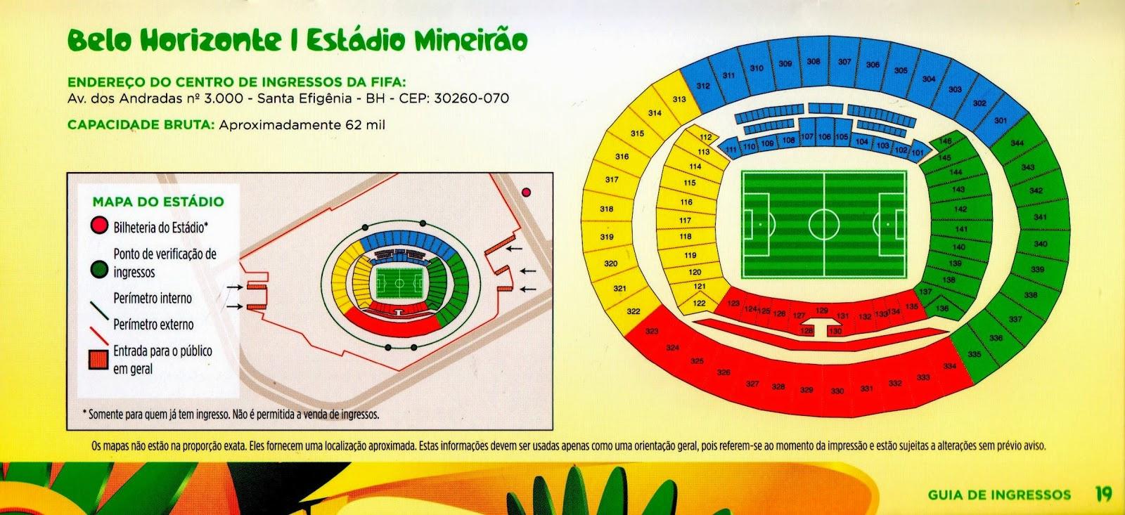 mapa do Mineirão para a Copa das Confederações