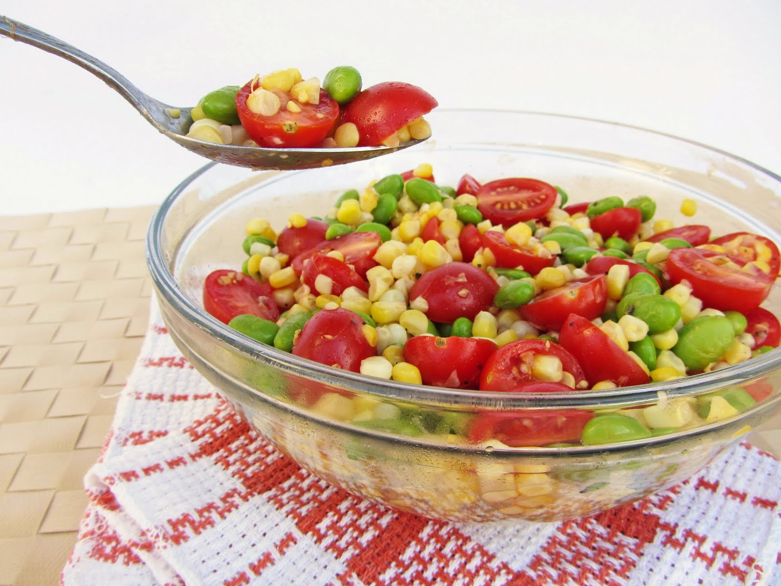 Toasted Corn, Cherry Tomato, And Edamame Salad Recipe — Dishmaps