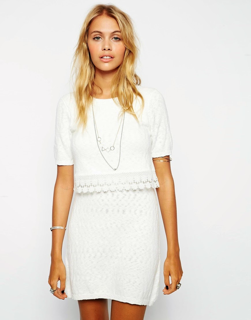 asos white crochet dress,