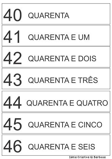 Fichas Numeradas 40 a 49