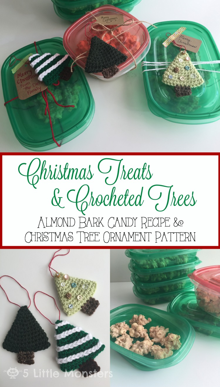 Christmas gift idea: Almond bark candy and crocheted Christmas tree ornament