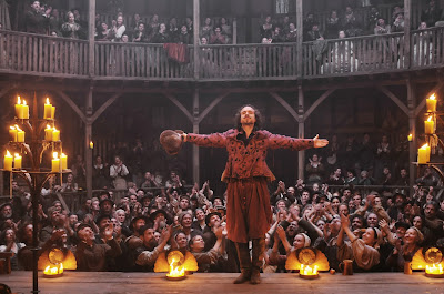 Rafe Spall as William Shakespeare, audience applauds the celebrated playwright, Directed by Roland Emmerich