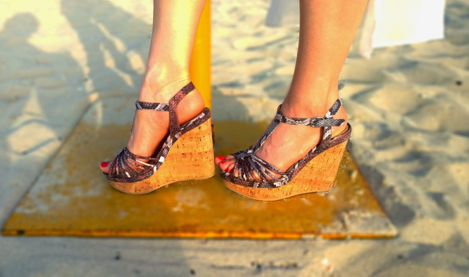 H&M Snakeskin-Wooden Wedges