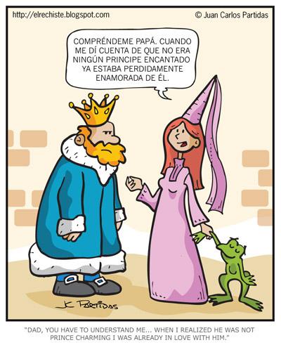 caricatura de princesa y sapo