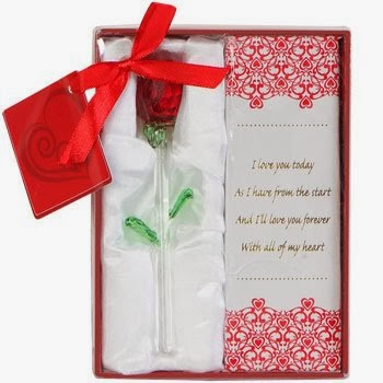 """Gift-Boxed Glass Rose 5.75"""" Valentine's Day"""