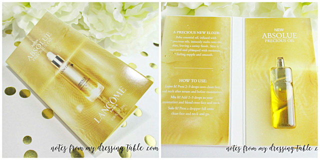 skin care sample extravaganza lancome absolu precious oil notes from my dressing table