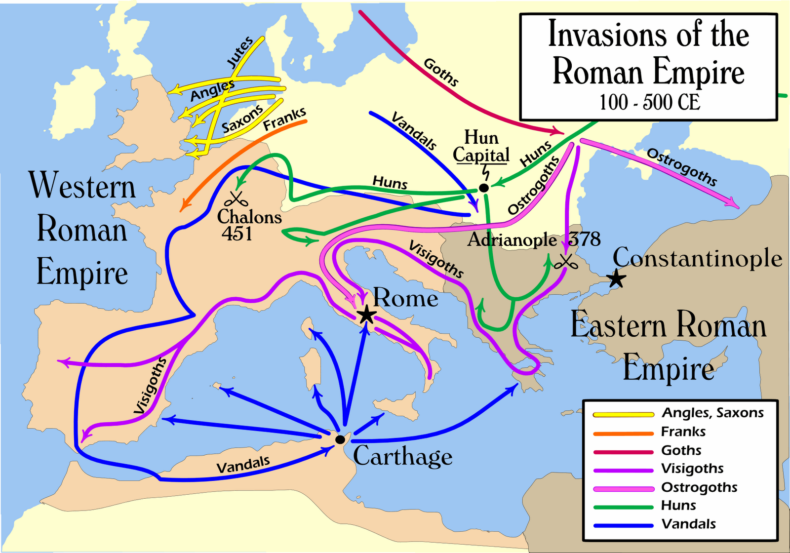 Barbarian invasions of both halves of the roman empire the vandals