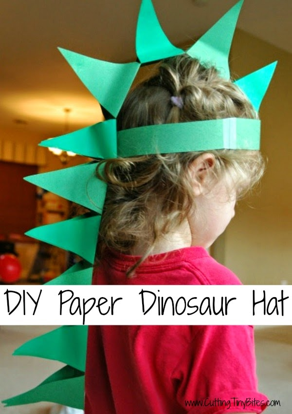 Cutting tiny bites diy paper dinosaur hat for Dinosaur crafts for toddlers