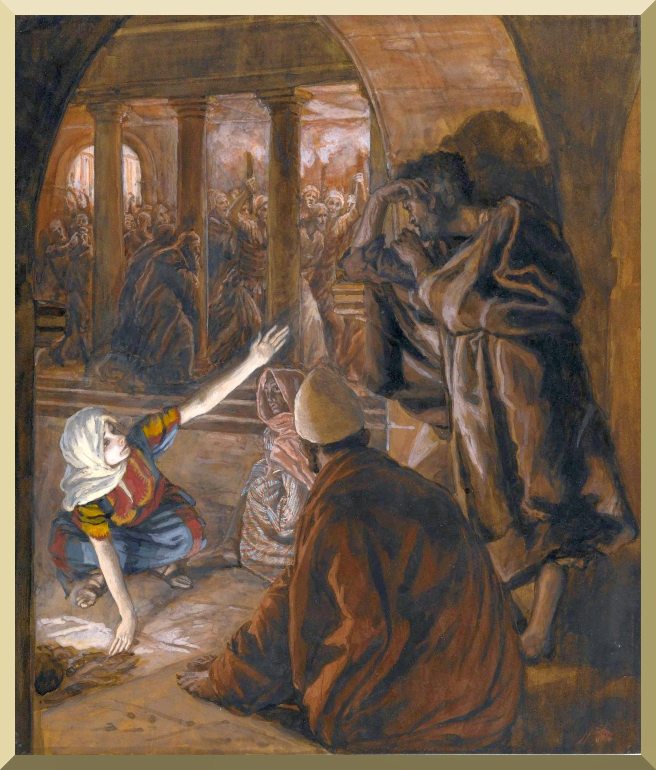 """The Third Denial of Peter. Jesus' Look of Reproach"" -- by James Tissot"