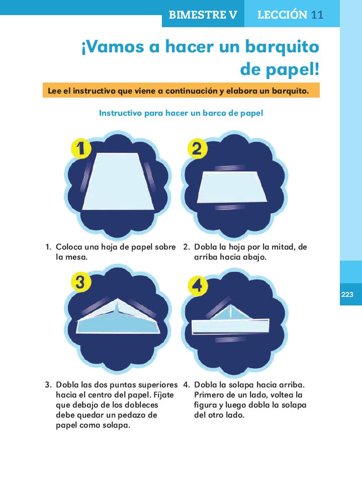 ¡vamos a hacer un barquito de papel!español 2do bloque 5/ 2014-2015
