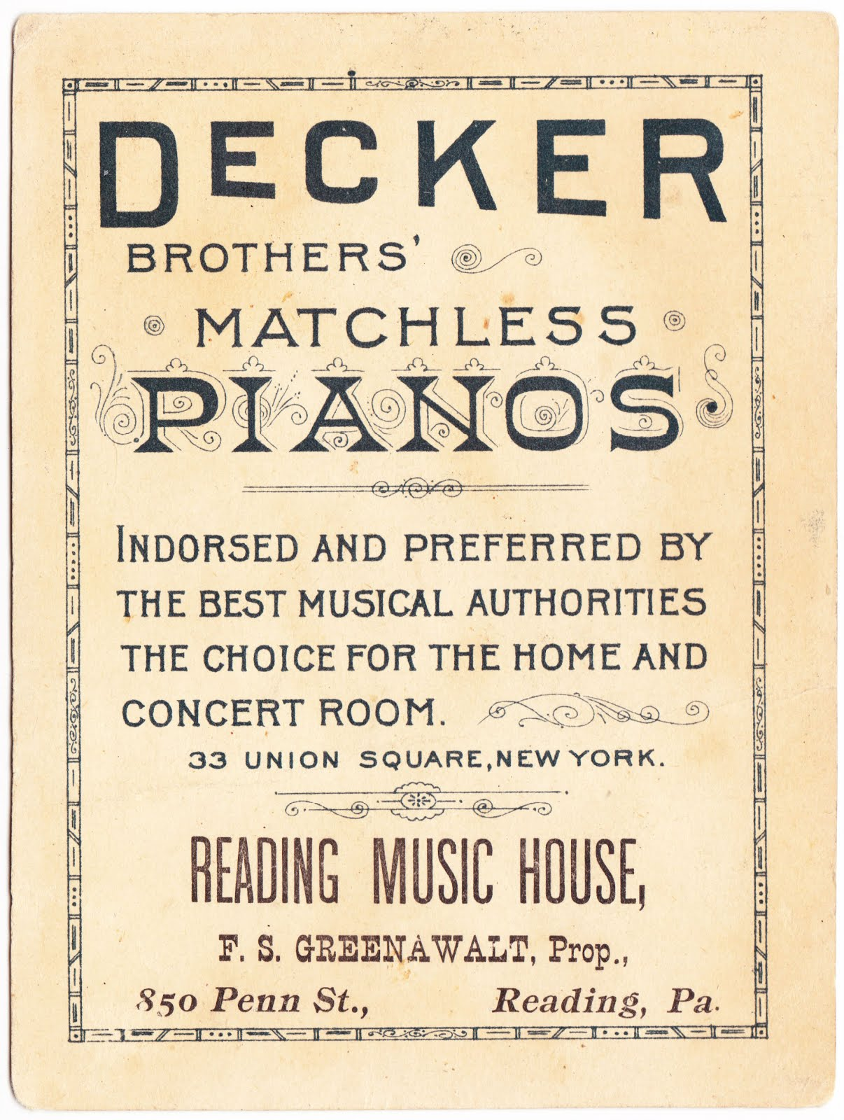 Papergreat: Victorian trade card: Decker pianos and a naked toddler