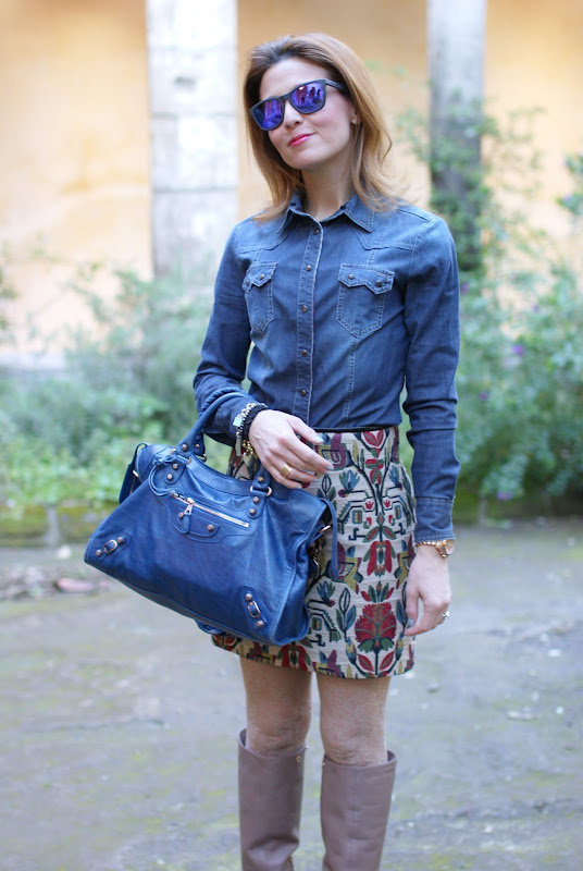 jeans shirt, Zara miniskirt, Balenciaga city bag, Fashion and Cookies