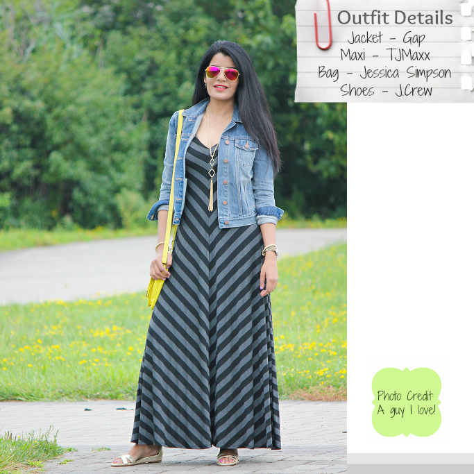 Striped Maxi Look, Jersey Knit Maxi Dress, Gap Denim Jacket Review, Summer Maxi Outfit Ideas