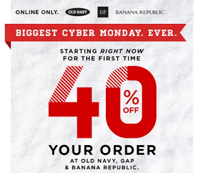 Old Navy, Gap & Banana Republic Cyber Monday 40% Off Promo Code