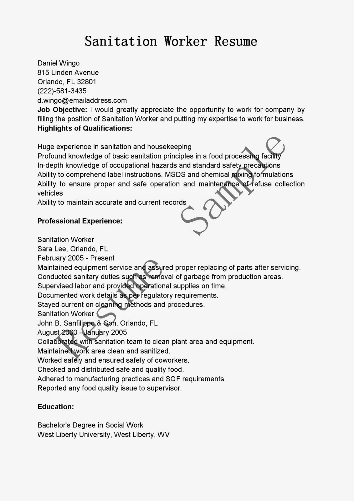 resume samples  sanitation worker resume sample