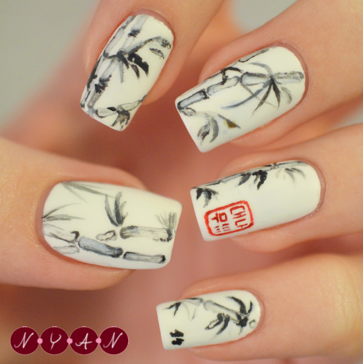 Nya nails bamboo i love love love this design mostly because ive taken a lot of art and art history classes and throughout them ive always been drawn to chinese prinsesfo Gallery