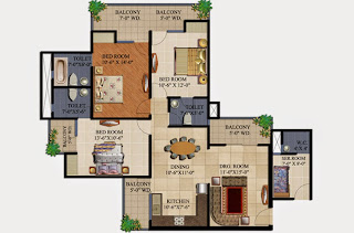 34 Pavilion :: Floor Plans,Aristo :- 3 BHK3 Bedrooms, 3 Toilets, Kitchen, Dining, Drawing, Servant Room, 4 Balconies Super Area - 1750 Sq Ft