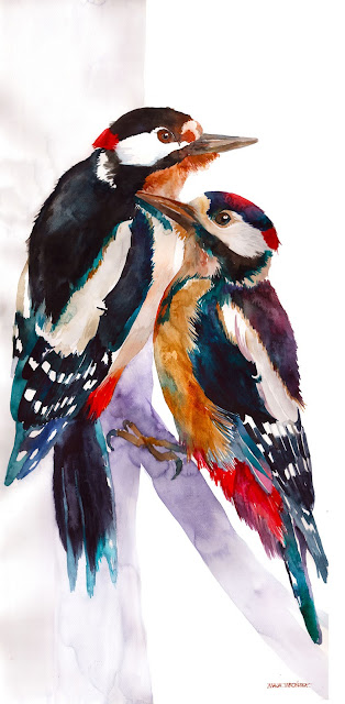 Watercolor birds painting by Maja Wronska