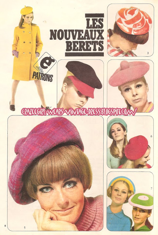 Hat - 1966 cap beret 60s 1960 mod