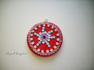 polymer clay, pendant, red,