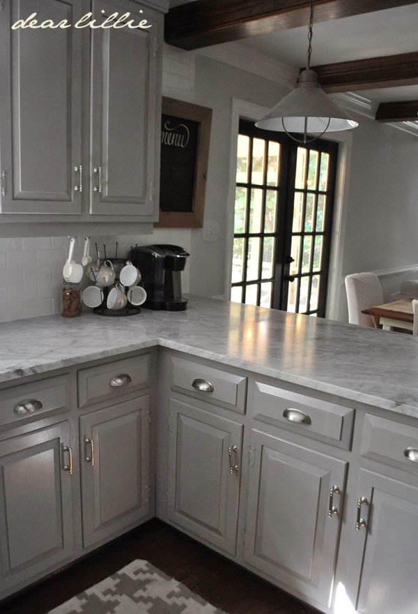 Dear Lillie Darker Gray Cabinets And Our Marble Review - Gray kitchen cabinets with marble countertops