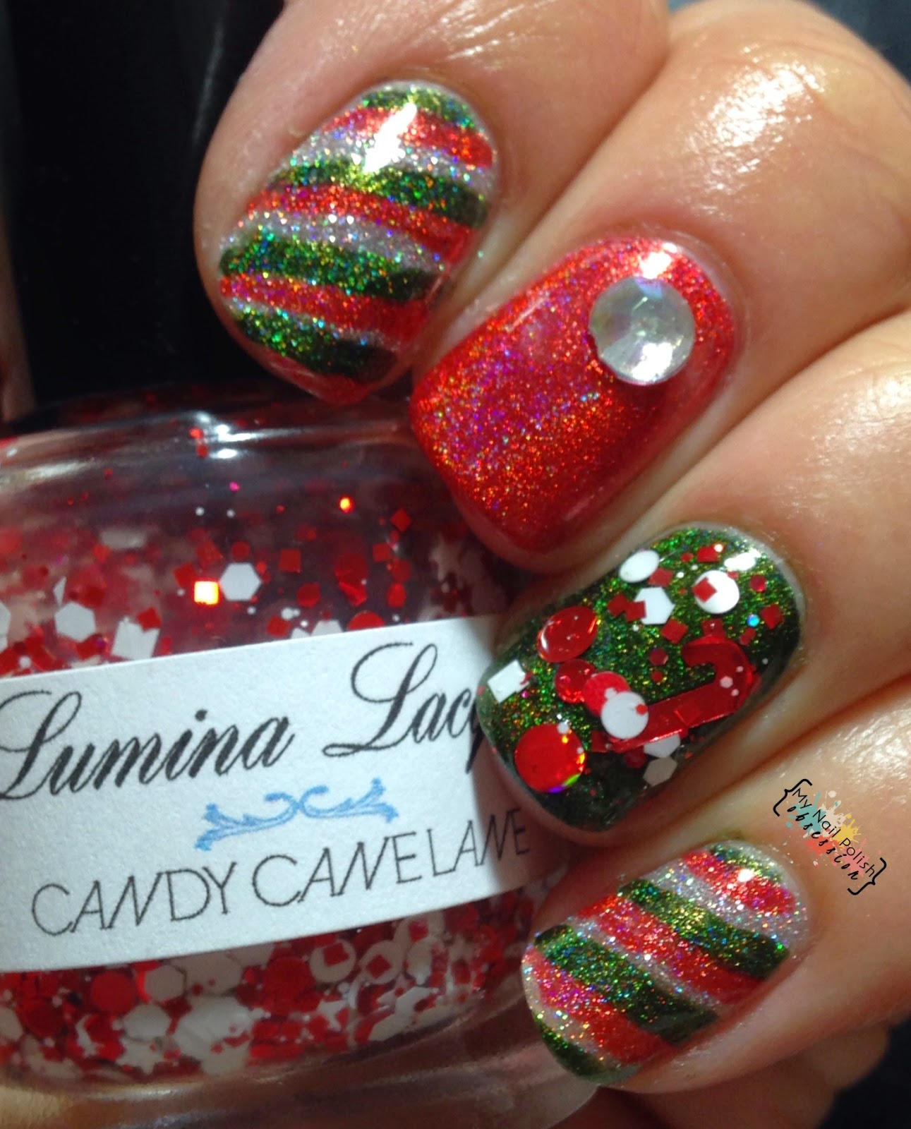Smitten Polish The First Lobster, Lumina Lacquer Candy Cane Lane