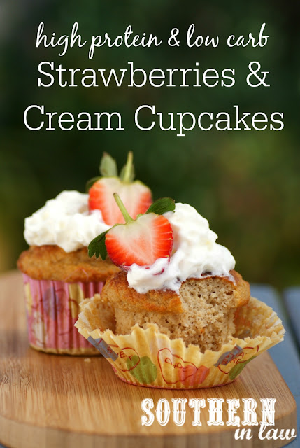 Healthy Strawberries & Cream Protein Cupcakes Recipe  healthy strawberry shortcake cupcakes, low fat, gluten free, high protein, low carb, refined sugar free, clean eating friendly