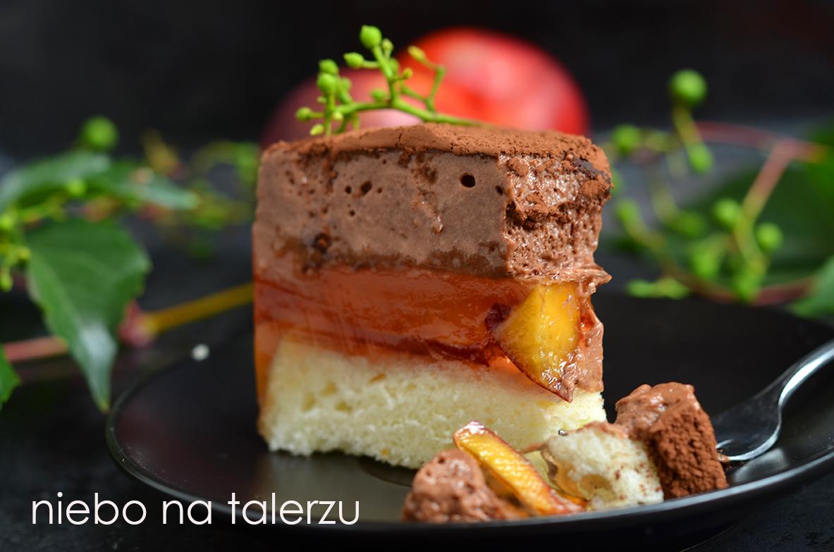 Delicja Brzoskwiniowa Ciasto Z Galaretka I Czekoladowym Musem