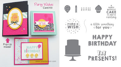 Stamp of the Month Club Card Kit featuring Stampin' Up! Party Wishes stamp set from 2016 Occasions Catalog #stampinup #birthday Learn More at  www.juliedavison.com/clubs