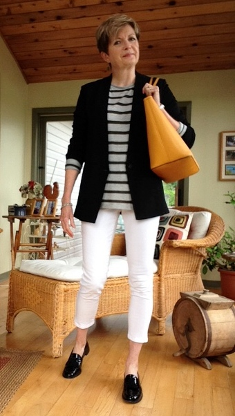 transition outfit: NYDJ jeans, Helmut Lang jacket, Vince tee, Stuart Weitzman loafers.