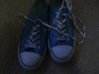 blue sparkly converse style sneakers