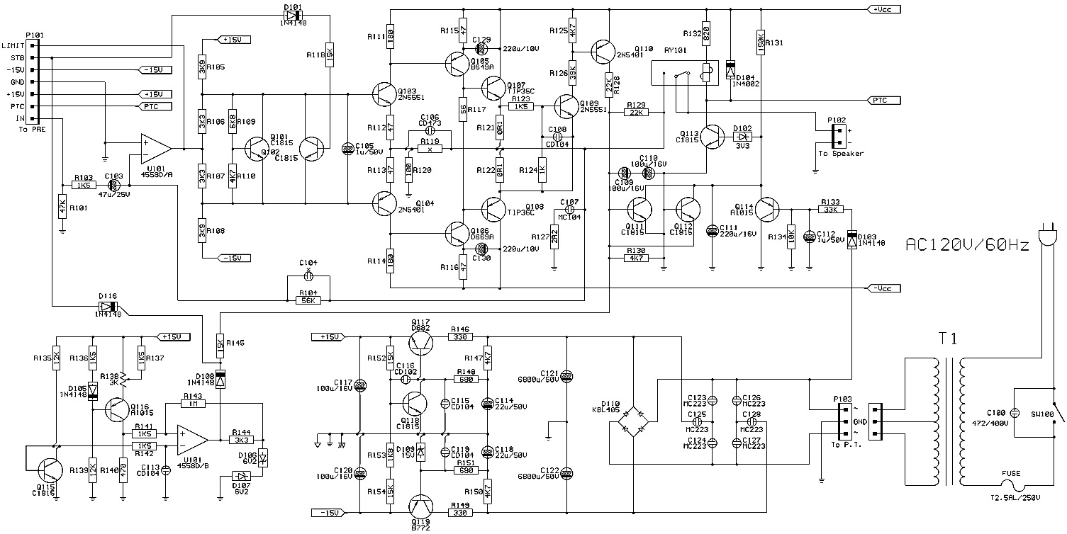 infinity tss-sub500 - circuit diagram - troubleshooting