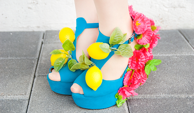 shoes, flowers, fruits