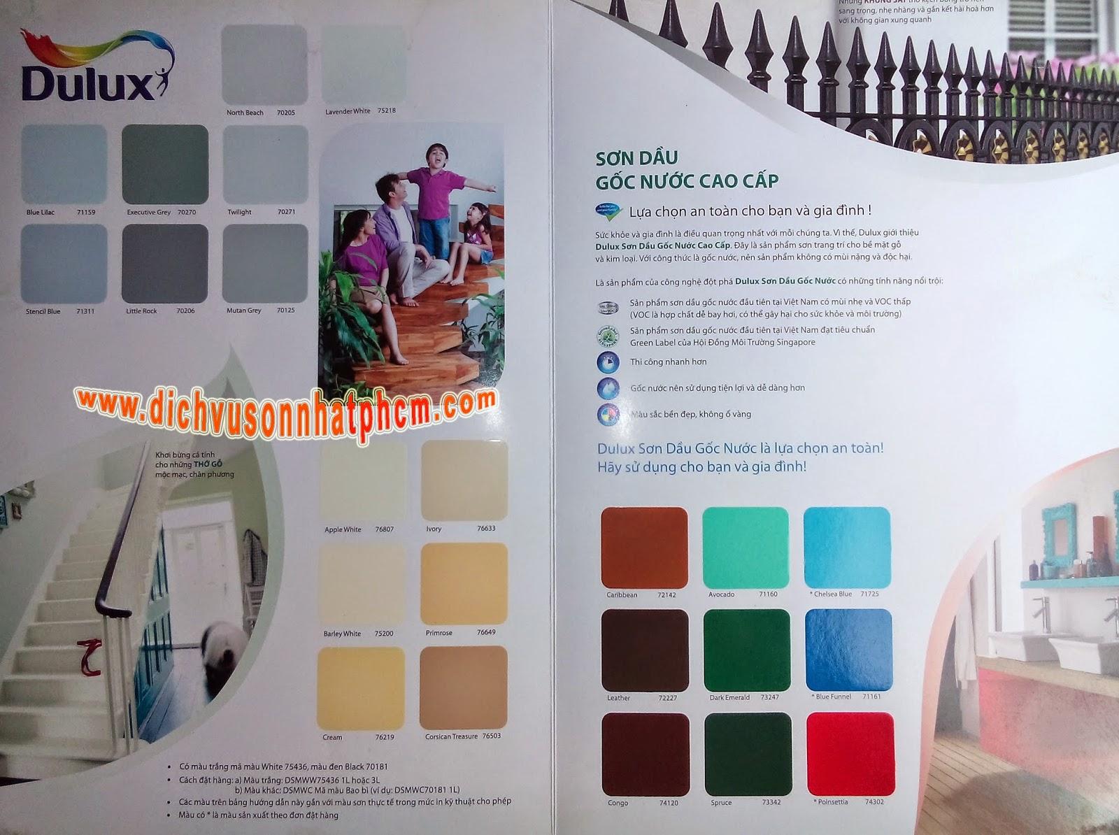 Bảng màu sơn dầu Dulux