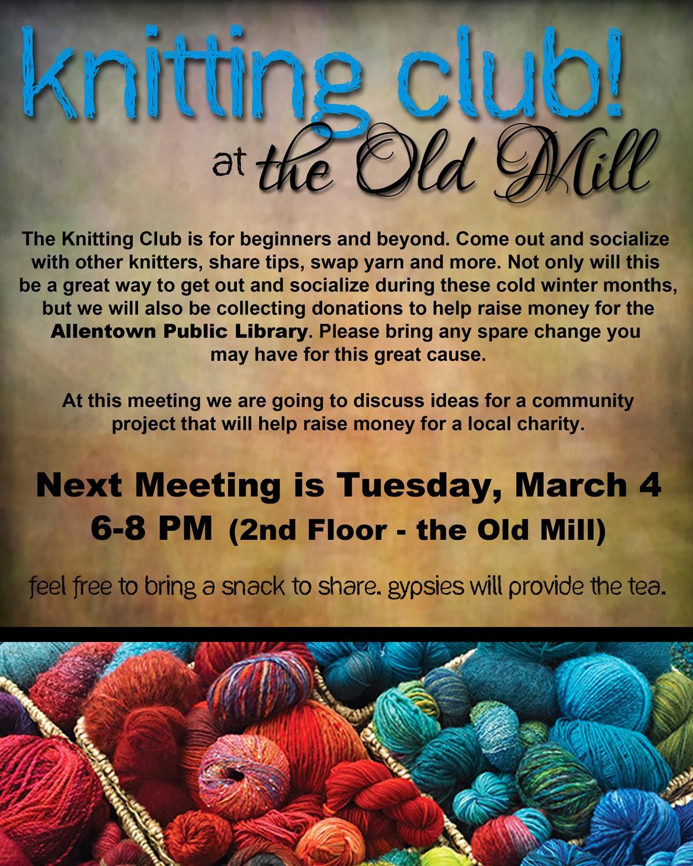 Knitting Club Flyer : Gypsies next knitting club meeting…