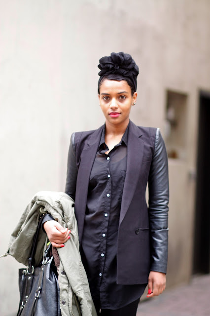 Hanna Yohannes leather sleeves seattle street style fashion headwrap it's my darlin' Shabazz Palaces