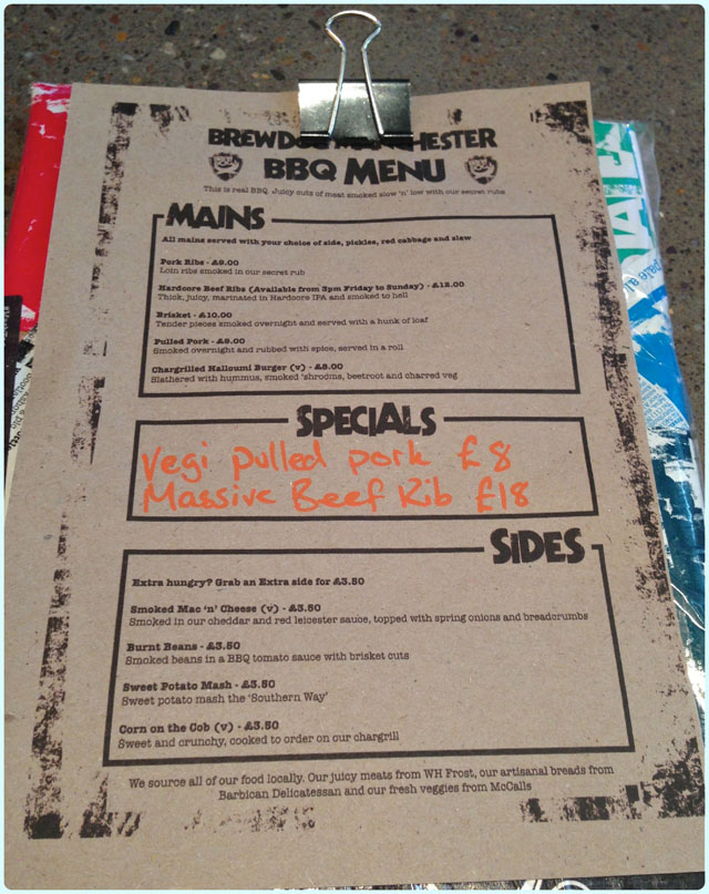 Brewdog, Manchester - New Menu