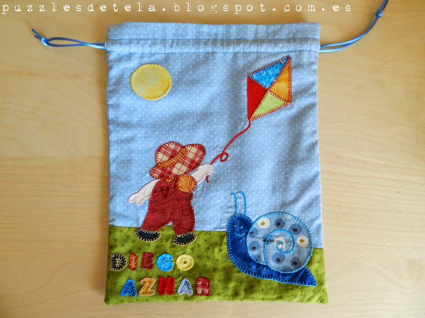 Creativa, Patchwork, bolsa para el almuerzo, bolsa para la merienda, regalos, ideas para regalar, patchwork para niños, caracol, bolsa patchwork