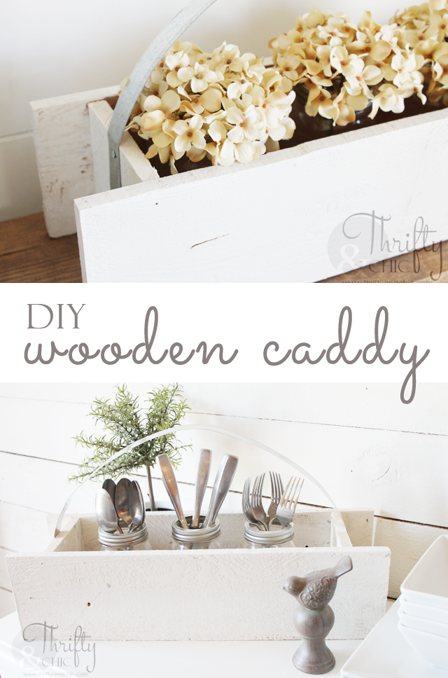 DIY Wooden Caddy With Galvanized Metal Handle
