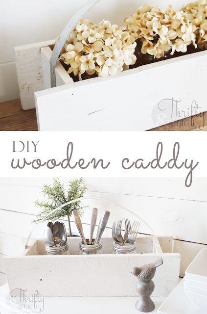 DIY wooden caddy with galvanized metal handle perfect to store silverware or crafts!