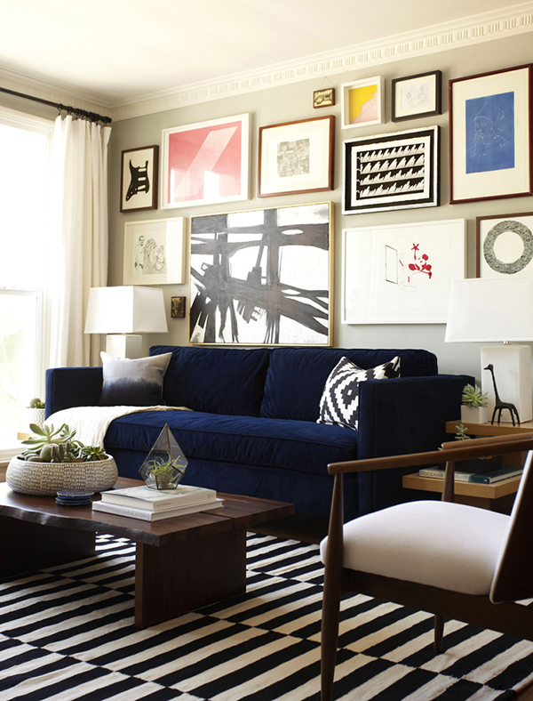 blue velvet sofa love