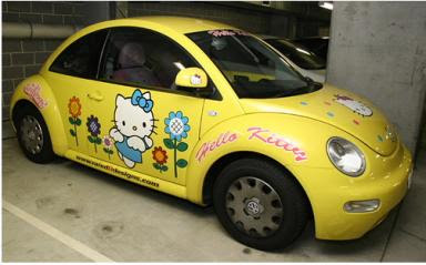Hello Kitty Volkswagon Beetle car