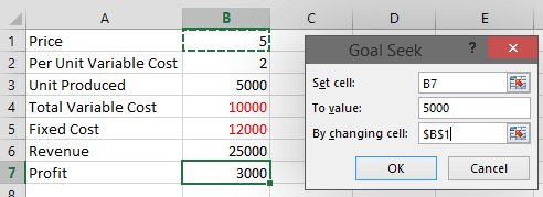 Goal Seek Example