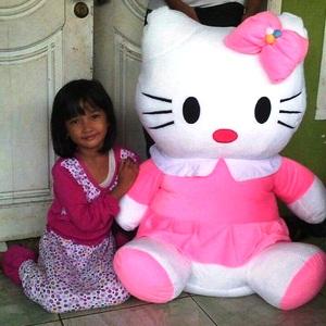 Boneka hello kitty lucu dress pink super jumbo