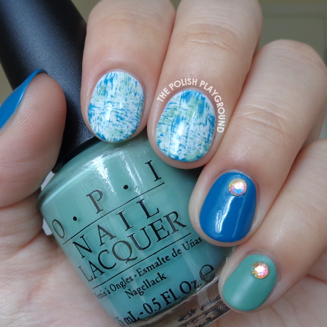 The Polish Playground Blue Green Brushstroke Nail Art With