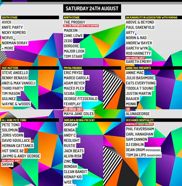 LINE-UP completo CREAMFIELDS 2013