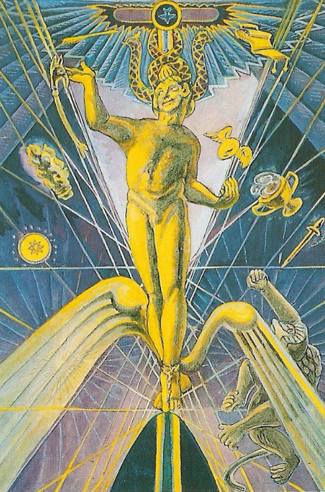 image of Magus card from Crowley/Harris Thoth Tarot deck