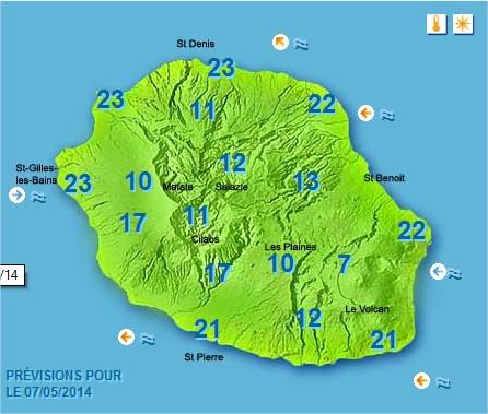 Prévisions météo Réunion pour le Mercredi 07/05/14