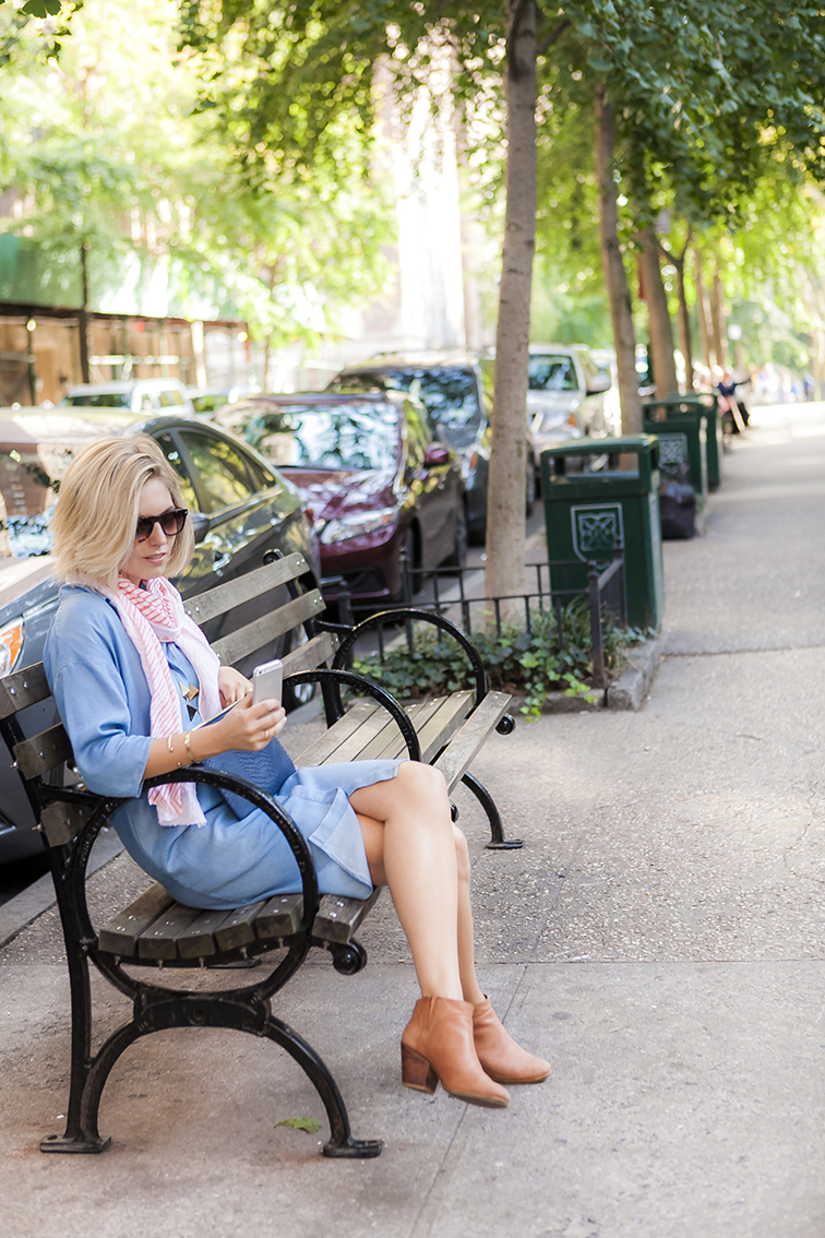 New York City park bench, Rachel Comey Mars boots, city life, late summer style