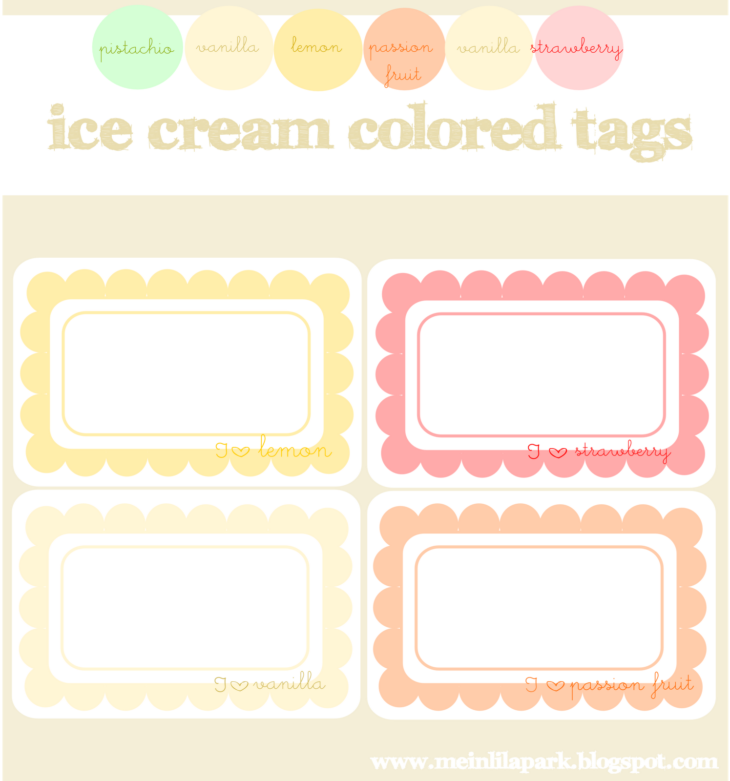 Free Digital Ice Cream Colored Scalloped Journaling Spots
